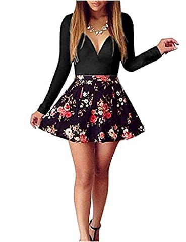Elite99 Womens Long Sleeve Deep V-neck Floral Print Dress (6, Black)