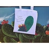 """Shopping bag bianca, Stampa da opera pittorica, proverbio Siciliano:""""Cu non si voli punciri nun ni tuccassi ficurinia"""""""