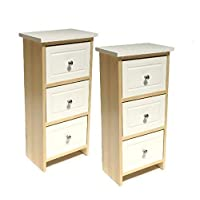 topfurnishing Assembled Pair Set of 2 White Shabby Chic Wooden Slim Narrow 3 Draw Kids Bedside Table Storage Cabinet Unit Bedroom Hallway Furniture (32x21x62cm)