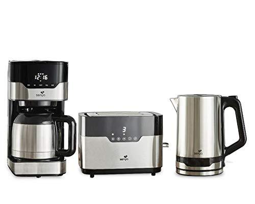 SENYA Frühstücks-Set mit programmierbarer Thermoskanne (SYBF-CM009) + Touch-Toaster und zwei großen Schlitzen (SYBF-T022) + Wasserkocher aus Edelstahl (SYBF-K037)