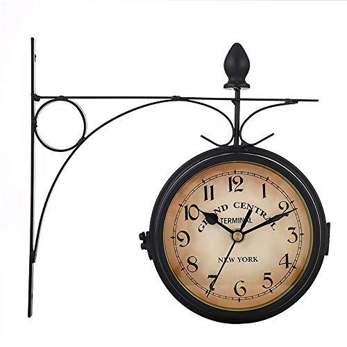 y Hübsch Europäische Uhren, Eisen wanduhren, kreative Vintage dekorative doppelseitige wanduhren, Wohnzimmer, Schlafzimmer, Restaurant Mode ()