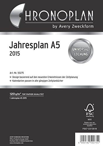Chronoplan 50275 Kalendarium Jahresplan A5, 2015, 1 Stück, weiß