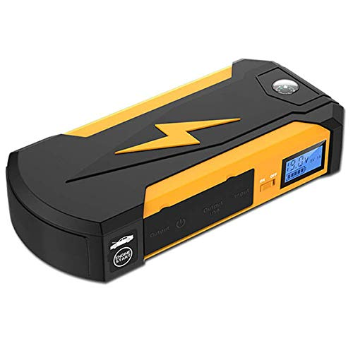 QCYJDY 600A 13500Mah Auto Starthilfe (Bis Zu 6.0 L Gas, 3.0-Liter-Dieselmotor) Notbatterie Booster Pack Energienbank Mit 2 USB-Lade-LED-Taschenlampe