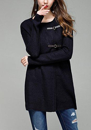 Femmes Cardigan en Tricot Veste Manteaux Tops Manche Longue Chandail Chemise avec Boutons Marine