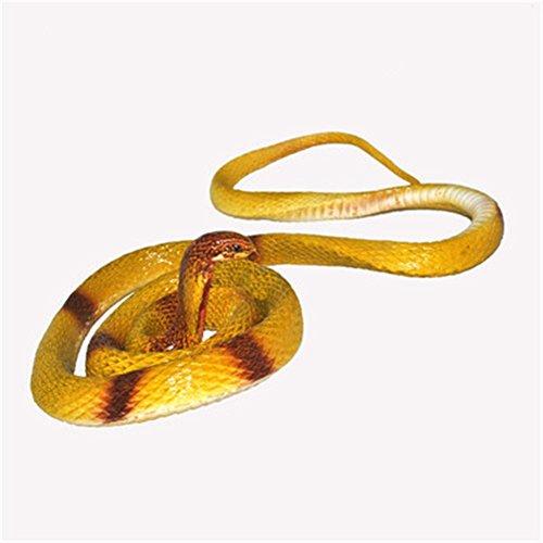 MFFACAI Serpenti di Gomma Regali Divertenti Snake del Giocattolo per Le Palle da 55 Pollici Long Snake Toy, 1.4 Meters, Yellow Cobra