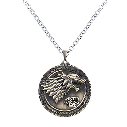 Lureme Inspiriert durch Spiel der Throne Lied von Eis und Feuer Jahrgang Stark Dire Wolf Anhänger Halskette-Antique Bronze (nl005380-2) (Feuer Und Eis Halloween)