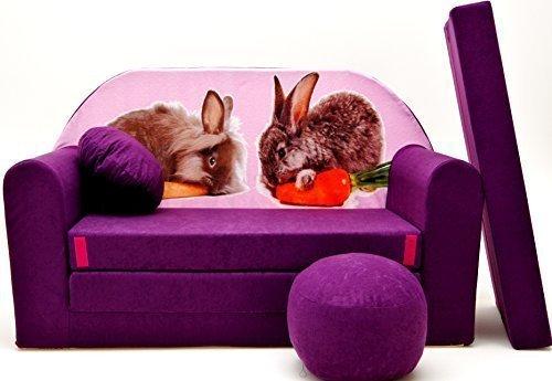 Kinder Sofabett + Gratis Polsterhocker und Kissen Kindermöbel Set - G1