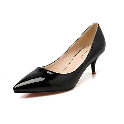 Rosso scarpe matrimonio punta bassa e donne singoli belle scarpe con 5 cm di carriera della donna scarpe singole Black