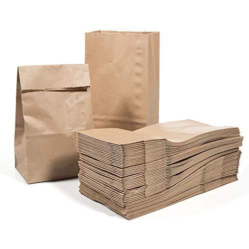Vordas 100 Sacchetti di Carta con Fondo 17 x 9 x 5 cm - 70 g./m2, Sacchetti di Carta per Alimenti Natalizi, Ideali per Confezionare Pane, Pizze, Dolci, Confetti, Caramelle ed Articoli da Forno