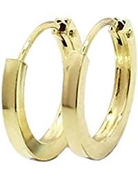 c361ac6ebb2c NKlaus 1843 - Par de pendientes de aro planos fabricados en oro amarillo  585