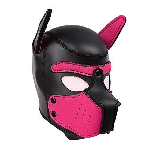 usmley Petplay Puppy Maske Schwarz Hundemaske Leder mit Ohren,Unisex - Mensch Hunde Anzug Kostüm