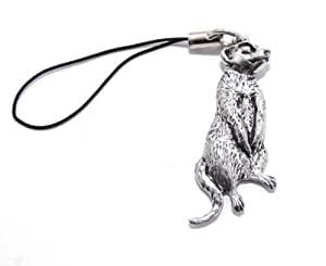 Meerkat Bag Phone Charm by Hoardersworld, Fine English Pewter, Handmade, Meercat