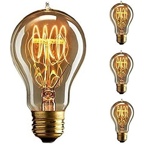 A19 Vintage E27 Edison vite lampadina da 60W dimmerabili antico filamento di tungsteno di loop di tipo 23 Ancore a incandescenza per la casa luce della lampada Fixtures nostalgico vetro decorativo 220V 3pack