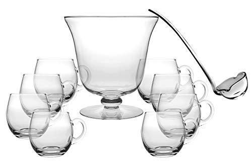 Barski Bowle-Set aus Glas, 10 Stück, inkl. 1 Bowlschale, 1 Schöpflöffel, 8 Punchbecher - von Barski, 25,4 cm Durchmesser, 210 oz - Schöpflöffel 35,6 cm L - Punchbecher ist 340 ml - Made in Europe (Mittelstück Schüssel Runde)