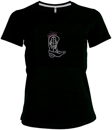 elegantes Damen Shirt Westernstiefel mit Krone gross Line Dance Queen Shirt Cowgirl Western V-Ausschnitt, T-Shirt, Grösse XXL, schwarz