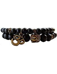 Yellow Chimes D'vine Collection Black Onyx Tiger's Eye Semi Precious Stone Yoga & Meditation Buddha Reiki Healing Bracelet for Men and Women
