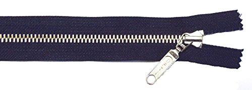 Reißverschluß Metall teilbar für Jacken 55 cm Dunkel Blau/Marine Silber mit Schmuckzip