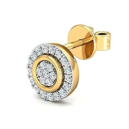 Stylori 18k Yellow Gold and Diamond Ryna Encrusted Stud Earrings for Women