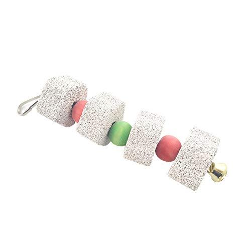 Romote Parrot Chew Toy Praktische Zähneknirschen Hängende Stein mit Glocke Durable Lava Calcium-Block Vögel Schnabel Stein Vogelbedarf -