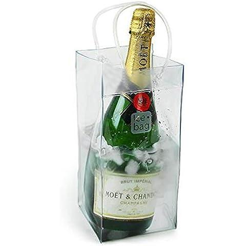 FENICAL Bolso Enfriador para Botellas de Vino y Champán con Mango (Transparente Plegable)