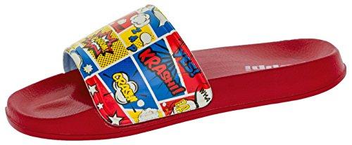 Beppi Kinder Badelatschen Comic  Jungendliche Strandschuhe Sommerschuhe   Rot Comic Design   Slipper   Leicht Weich Bequem   Größe: 33