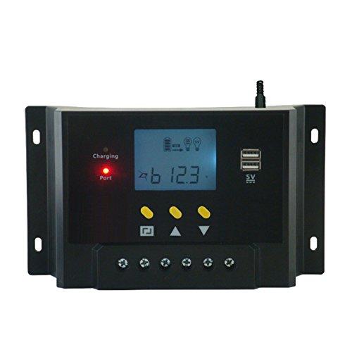 Pantalla LCD Interfaz de control inteligente: 1. Graphic símbolos) 2. Sistema de identificación de voltaje 3. Modo de carga PWM inteligente 4. Compensación automática de temperatura 5. charge-discharge estadísticas para transparente condiciones de us...