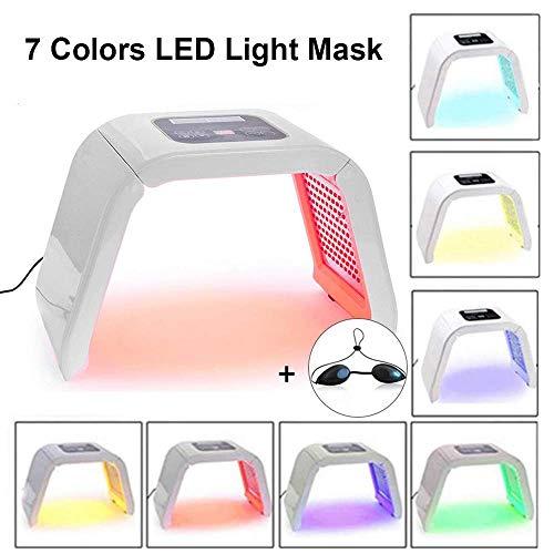LED Photon Therapie 7 Farben Lichtbehandlung Maske Schönheit Lichttherapie Gesichtsmaske Hautverjüngungs Gesichtsmaske PDT Skincare Maschine, Gesicht Hals Anti-falten Akne Entfernung, Akne Entferner