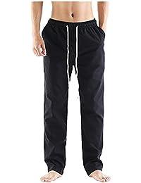SOIXANTE Homme Pantalon En Mélange Coton Lin Coupe Large Décontracté Léger Confortable Respirant