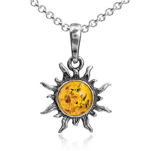 Collana argento sterling con ciondolo forma di sole ambra 46