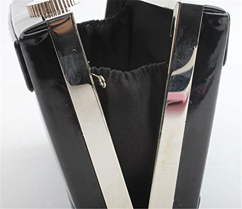 Good Night stile macchina fotografica del cuoio della frizione della borsa del sacchetto di sera Crossbody Nero