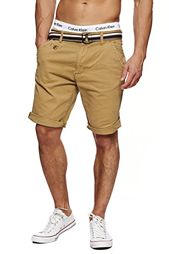 INDICODE Herren Cuba Shorts Bermuda kurze Hose inkl. Gürtel Beige Amber M