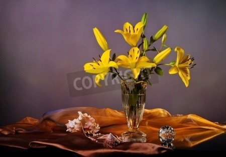 "Poster-Bild 100 x 70 cm: ""Still life with yellow lily and pearls"", Bild auf Poster"