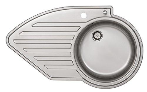 Rieber Einbauspüle Wing 100 Becken rechts Edelstahl Küchenspüle MADE IN GERMANY 860x515 mm 1 Becken mit Abtropffläche Spülbecken glatt langlebig und rostfrei