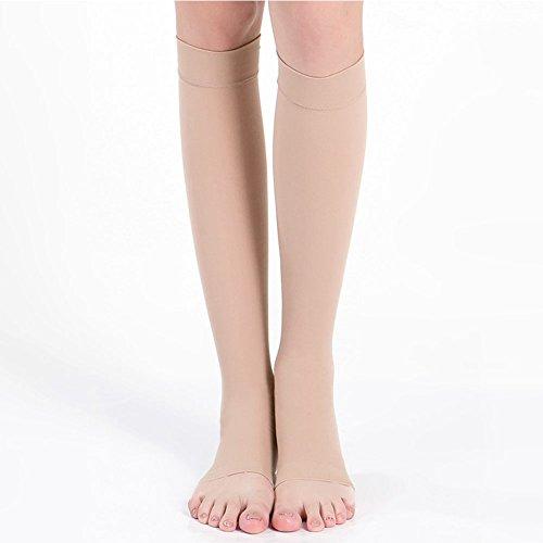 MORESAVE 18-21 mmHg Compression Open Toe Men Women Sock Knee High Socks Support Stockings