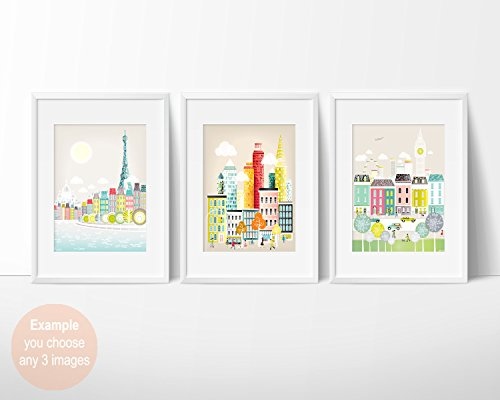 Stadtbild -Skyline Poster und A4 Wandkunstdruck , europäische amerikanische Städte, New York, London, Paris, Berlin, Rom und viele - Stadt Amerikanischen