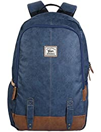 Gear Classic Anti Theft Faux Leather 20 Ltrs Navy Laptop Backpack (LBPCLSLTH0519)