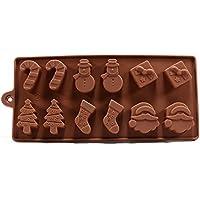 Molde Horneado Silicona 6 Formas Navidad Chocolate Tarta Hielo Gelatina Fondant - Marrón, 6 figuras navidad