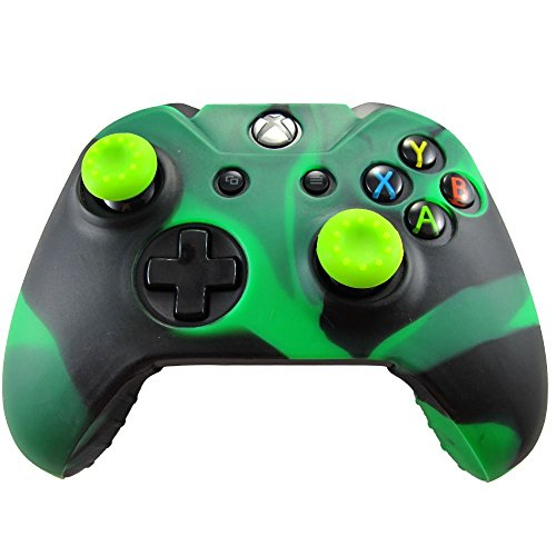 Third Party Xbox One Controller High Quality Protective Silicone Case Black + Green + 2 Black Silione Thumb Grips
