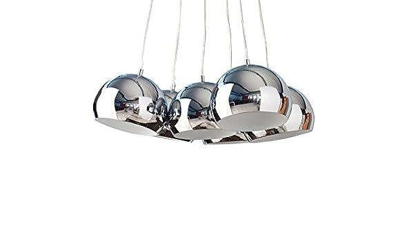 Design Hängelampe PERLOTA M Design 6 Halbkugeln aus Chrom