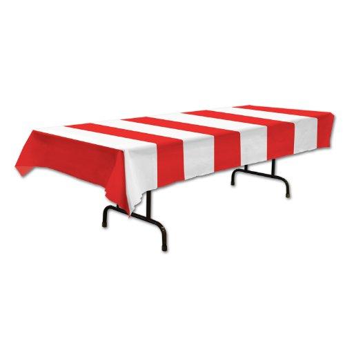 Red & White Stripes Tischdecke Party Zubehör (1 count) (1 / Pkg)