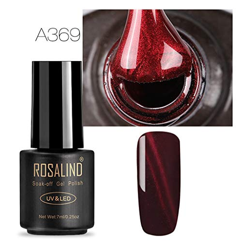Vernis Gels Semi-Permanents - LEEDY Vin Rouge 3D Cat Eye Eye Gel Gradient Étoilé Trempez Off Art Nail UV Polish Décorations et accessoires