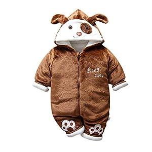 Recién Nacido Mono Invierno Moda Niñito Bebé Niños niñas Calentar Perro Encapuchado Color sólido Mameluco Mono… 4