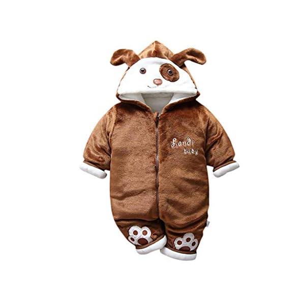 Recién Nacido Mono Invierno Moda Niñito Bebé Niños niñas Calentar Perro Encapuchado Color sólido Mameluco Mono… 1