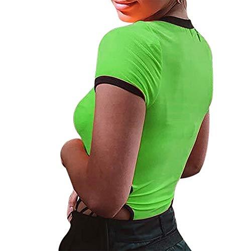 FIRSS-BH Damen Body Rundhals Babydoll Bodysuit Reizwäsche Kurzarm Elegant Strampler Basic Overalls Playsuit Elastisch Damenbody Stringbody Einteiler Unterwäsche Hemdbluse S - 3