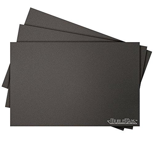 """BuildTak BT625X925-3PK Foglio di stampa 3D, 6.25"""" x 9.25"""", 159 x 235 mm, Rettangolo, Nero, Pack di 3 Pezzi - Best Price"""