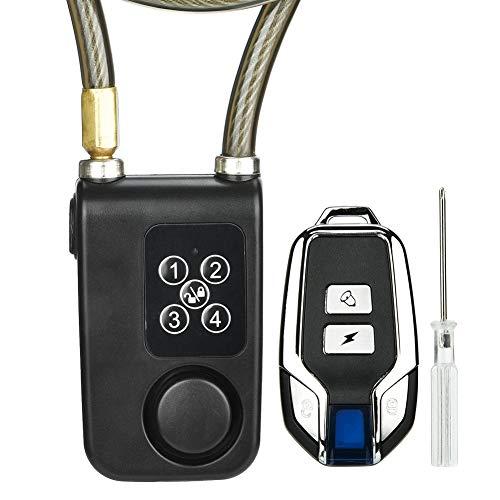 Bewinner Alarm Fahrradschloss, Y787R Drahtlose Fernbedienung Alarmschloss Elektro Motorrad Code Stahlkabel Kettenschloss Drahtlose Alarmanlage Fahrrad Alarm Sicherheitsschloss