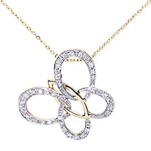 Naava Women's 9 ct Yellow Gold Diamond Butterfly Pendant + 46 cm Trace Chain Necklace