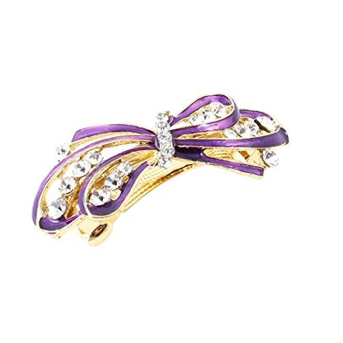 sourcingmap Faux Incrusté De Strass Violet N?ud Français Pince Cheveux violet pour femmes
