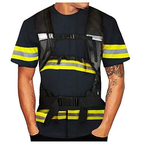 Aoogo Herren Beiläufiges 3D Feuerwehrmann-Art-Druck-Oansatz-Kurzarm-Blusen-Spitzen-T-Shirt der Männer Und Hosen