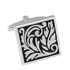 Beglie Manschettenknöpfe Herren Kupfer Blume Blatt Muster Hemdanzug Manschettenknopf Cufflinks Silber